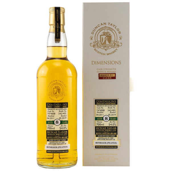 Benriach 2011/2019 8 Jahre Peated Sherry Dimensions 54% (Duncan Taylor)
