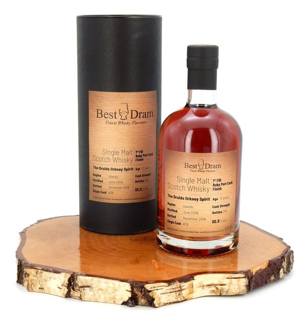 The Druids Orkney Spirit, 12 Jahre, 1st Fill Ruby Port Cask Finish, 60,9% (Best Dram)